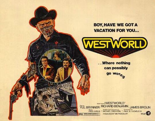 """Der mechanische Revolverheld (""""Gunslinger"""") hat Peter und John genau im Visier"""