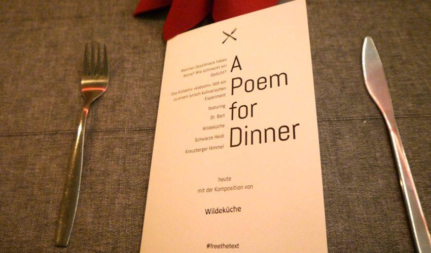 A Poem for Dinner - Veranstaltungsreihe