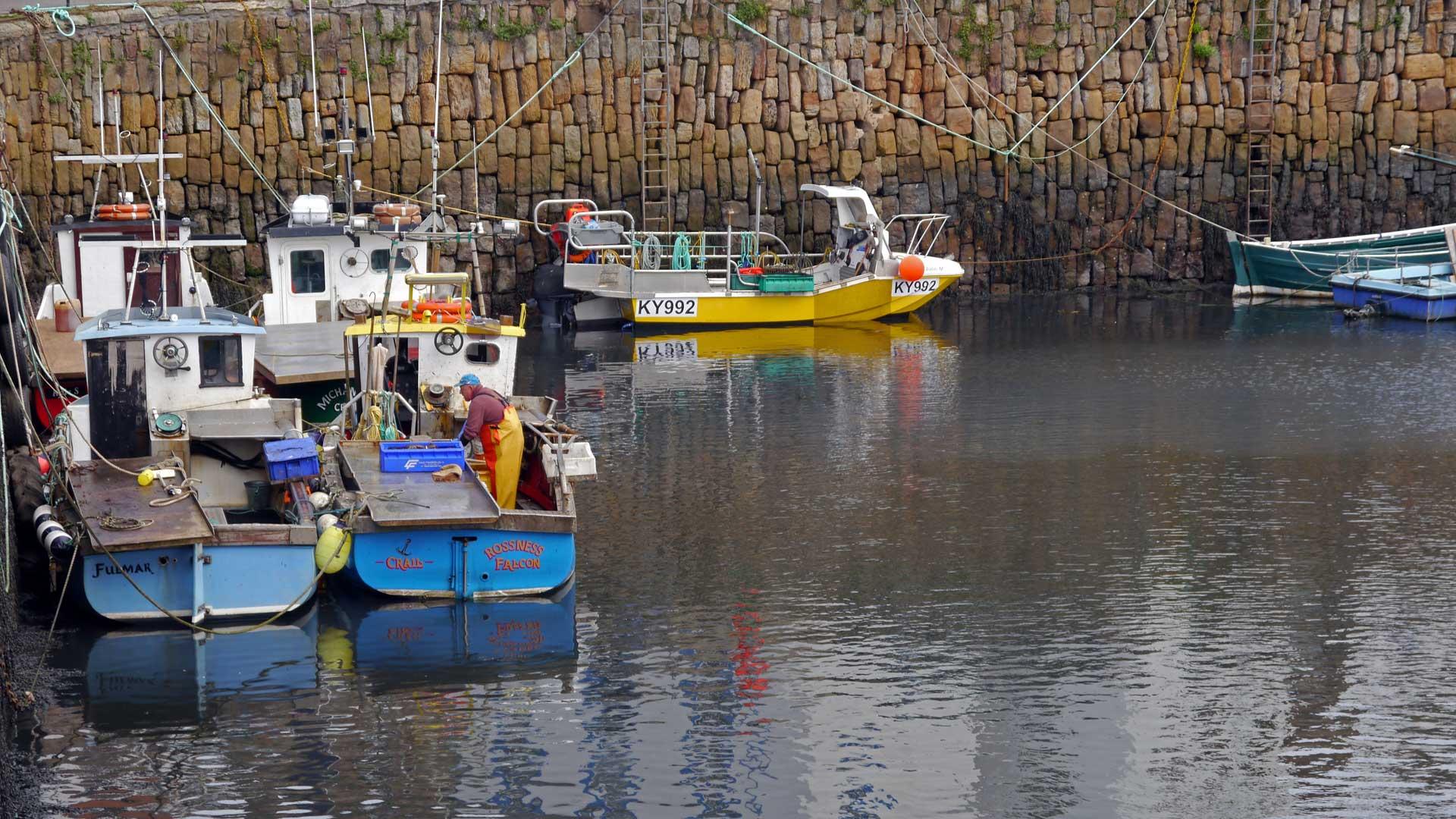 Fischer bei der Arbeit im Küstenort Crail. (Foto: Sommerdiebe.de)